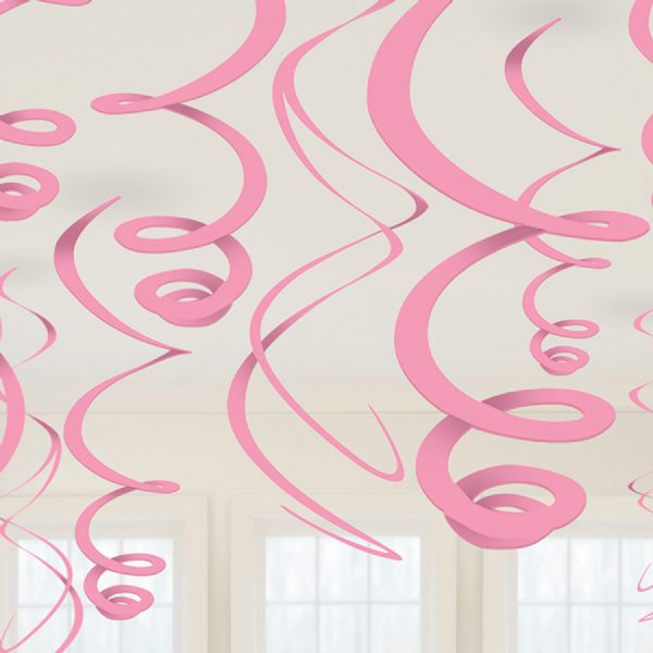 Baby Pink Plastic Swirl Decorations (12)